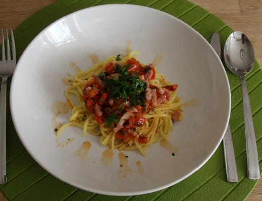 Recept   Pasta met gegrilde paprika & citroen